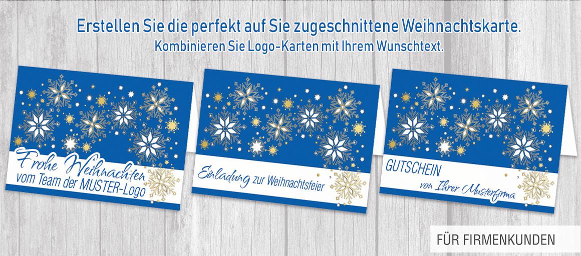 Kombinieren Sie Ihr Logo mit Ihrem Wunschtext auf er Karten-Vorderseite