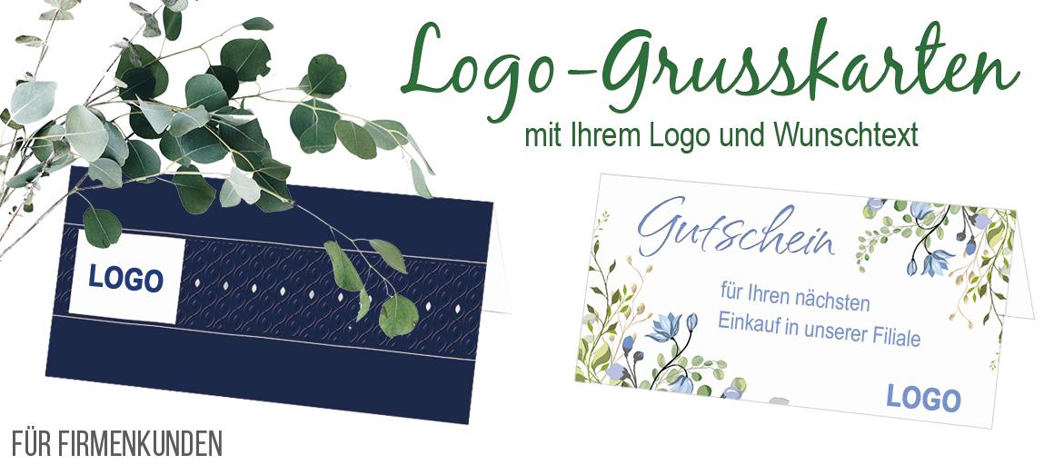 Ihr Logo prominent auf der Vorderseite der Glückwunschkarte - schnell selbst gestaltet